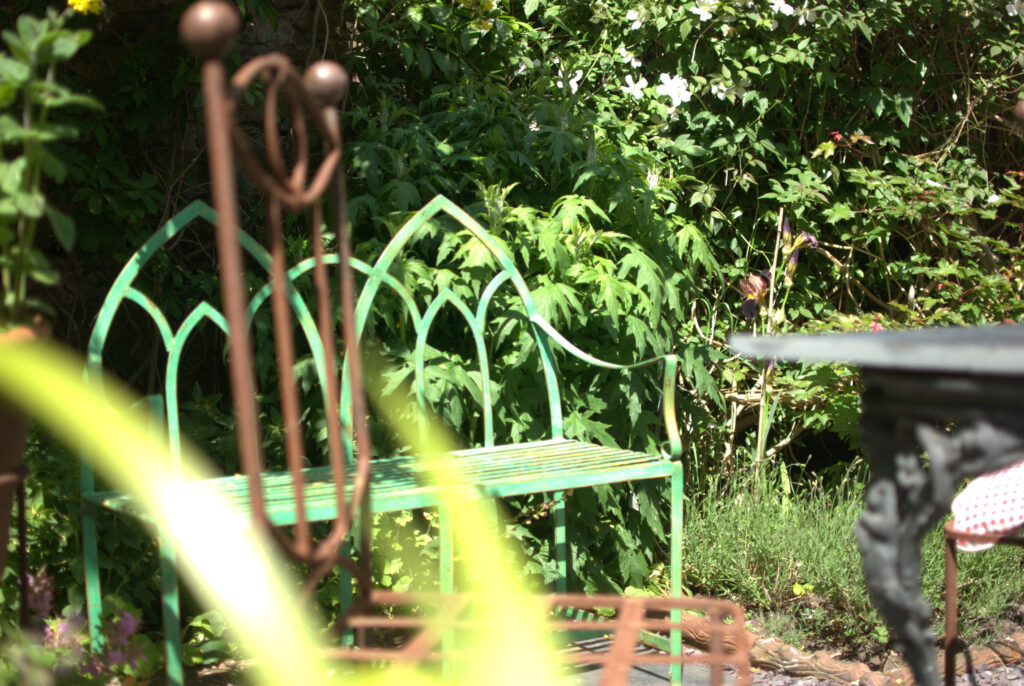 Seating in the garden - bring out the small cushions, handmade creations by Ruth
